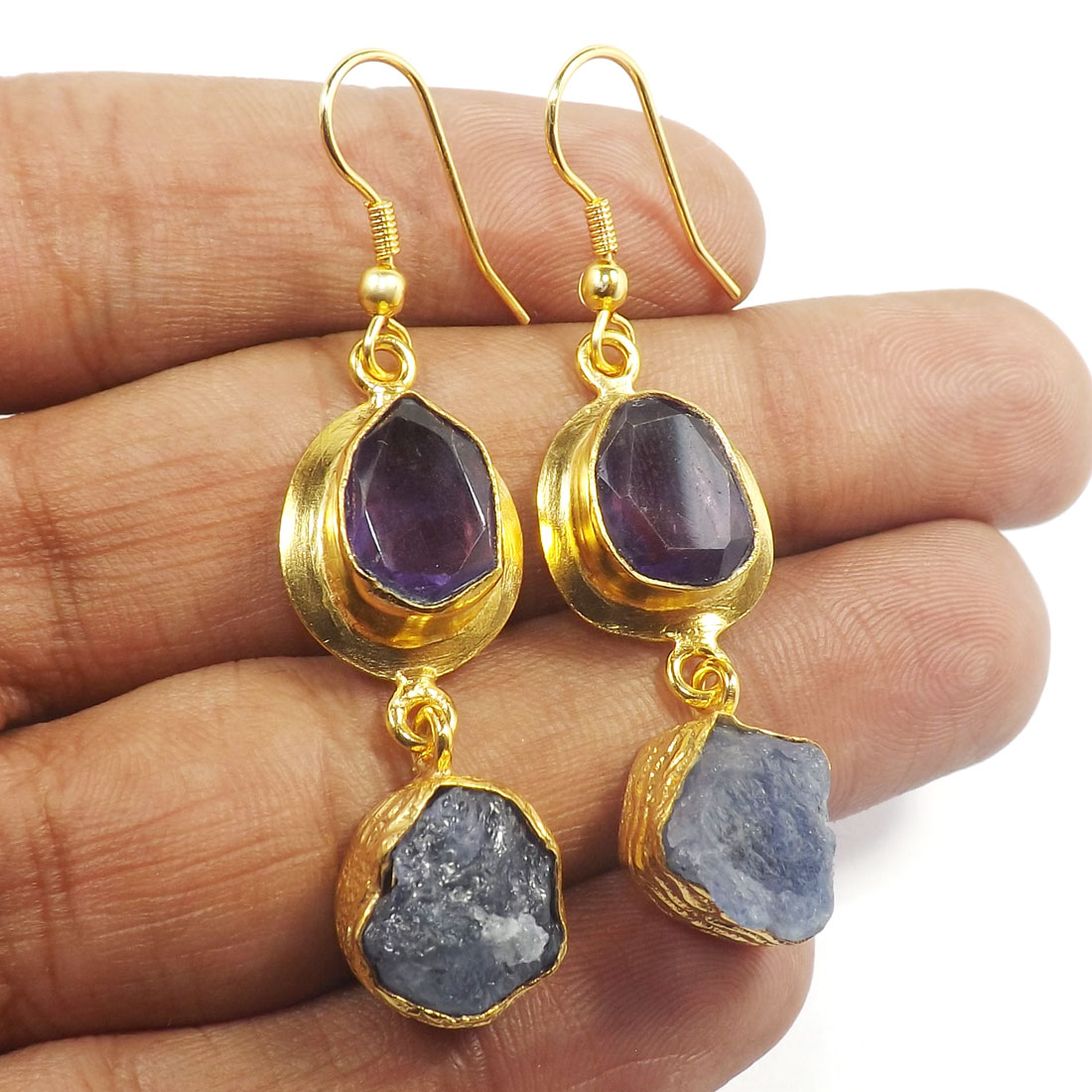 Amethyst & Tanzanite Rough J - PBE964-Glamours Two Stone Gold Plated Designer Rough Brass Earri