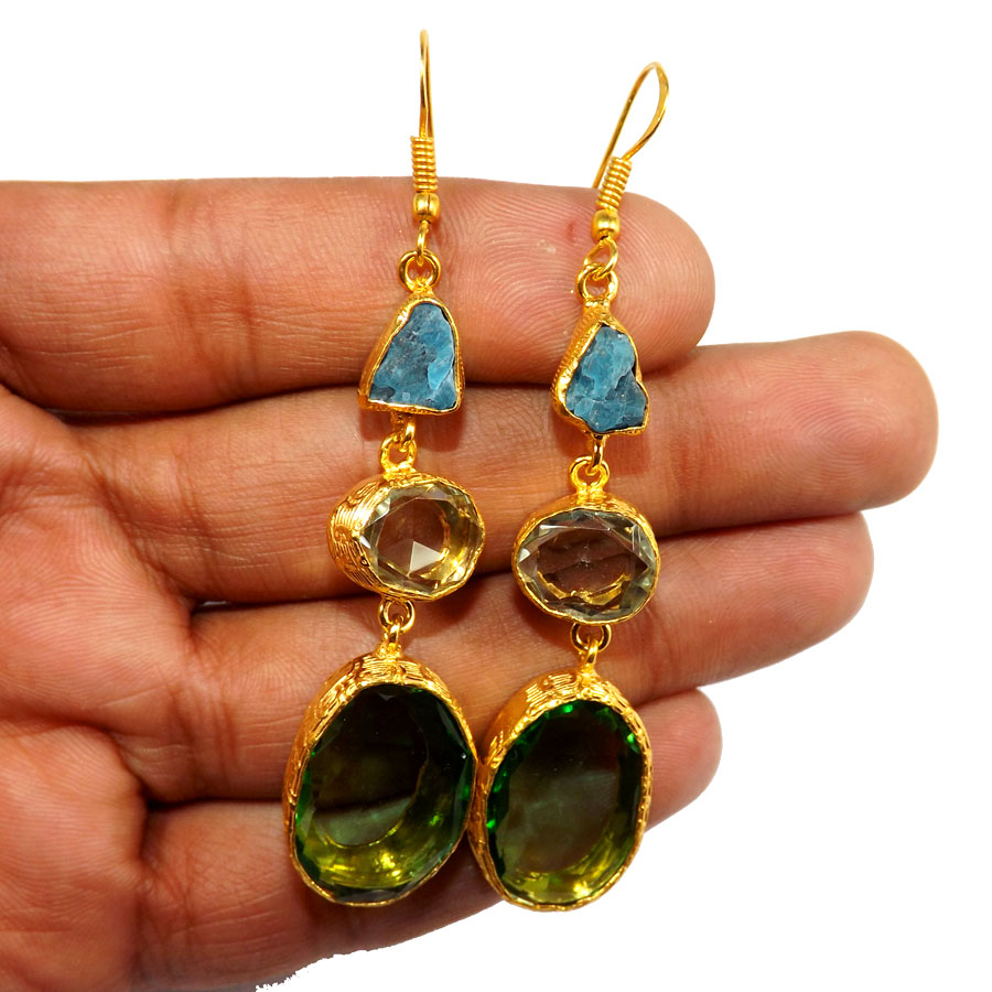 Apae Hydro Gl A Pbe952 Multi Rough Three Gemstone 18ct Gold Plated Over Br Handmade Statement Earring