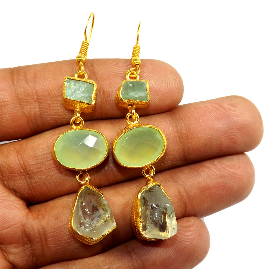 Fluorite Rough,Aqua Chalcedony Cut & Aquamarine Rough C - PBE952-Multi Rough Three Gemstone 18ct Gold Plated Over Brass Handmade Statement Earring