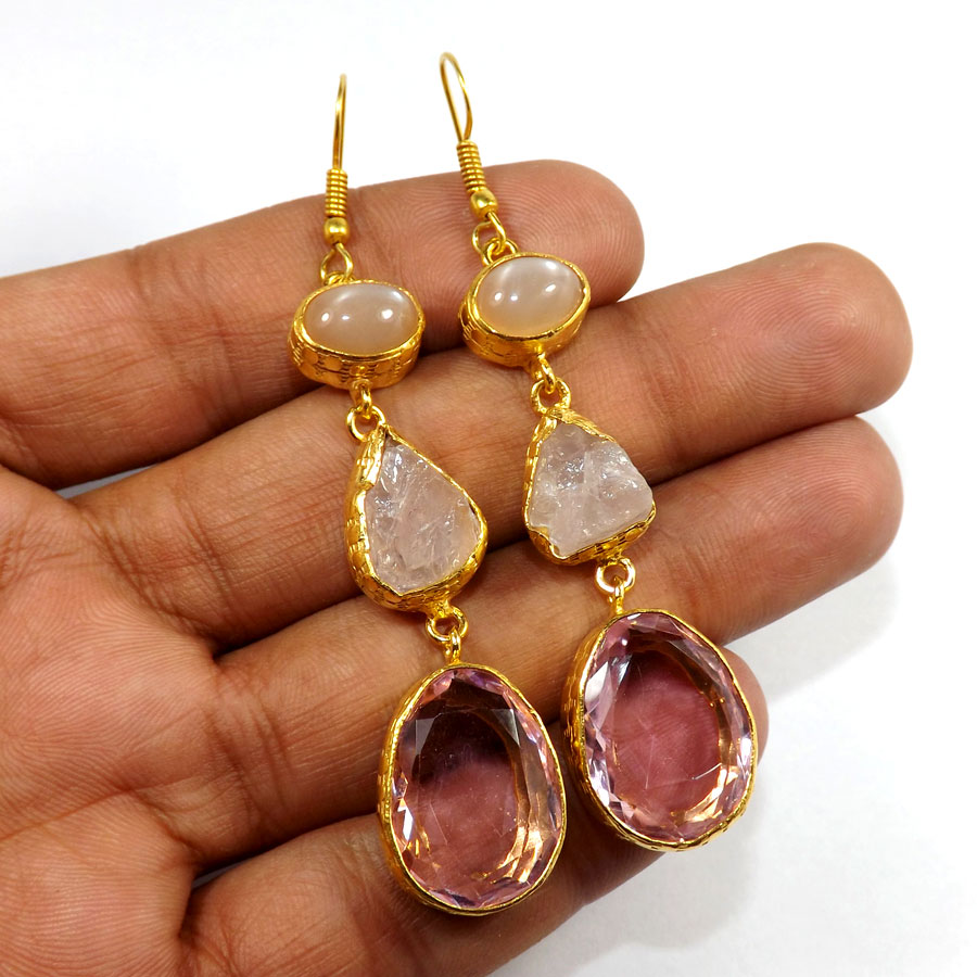 Rose Cab,Rose Quartz Rough & Pink Hydro Glass D - PBE952-Multi Rough Three Gemstone 18ct Gold Plated Over Brass Handmade Statement Earring