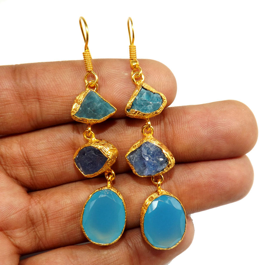 Apatite Rough,Tanzanite Rough & Blue Chalcedony Cut F - PBE952-Multi Rough Three Gemstone 18ct Gold Plated Over Brass Handmade Statement Earring