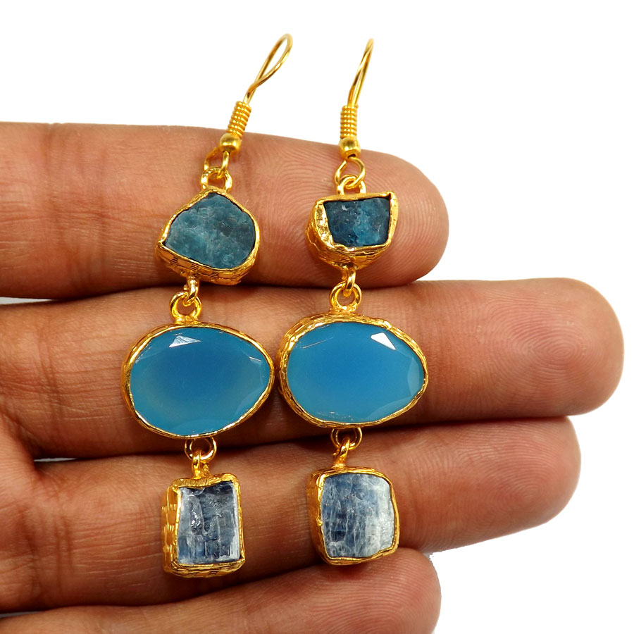 Apatite Rough,Blue Chalcedony Cut & Blue Kynite Rough G - PBE952-Multi Rough Three Gemstone 18ct Gold Plated Over Brass Handmade Statement Earring