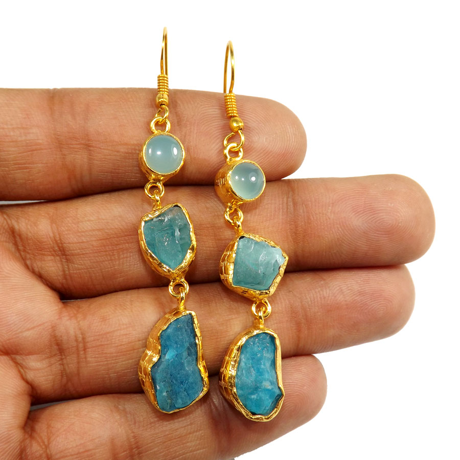 Aqua Cab,Apatote Rough H - PBE952-Multi Rough Three Gemstone 18ct Gold Plated Over Brass Handmade Statement Earring