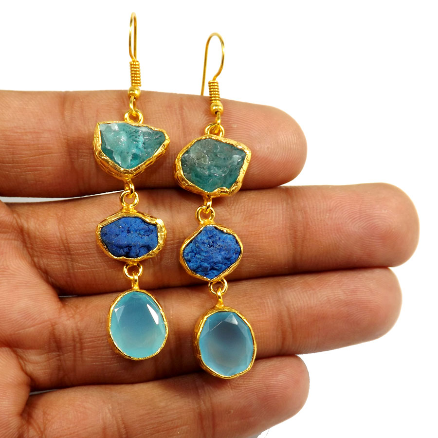 Fluorite Rough,Azurite & Blue Chalcedony Cut O - PBE952-Multi Rough Three Gemstone 18ct Gold Plated Over Brass Handmade Statement Earring
