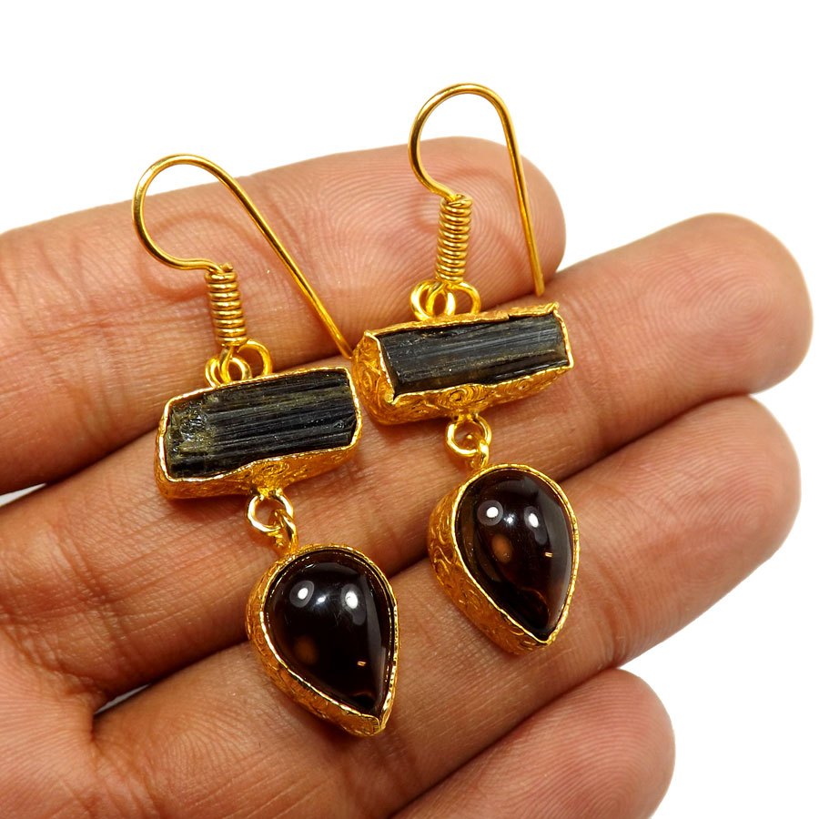 Black Tourmaline & Smokey Rough B - PBE951-Exclusive Two rough Rough Stone Handmade Wholesale Earrings