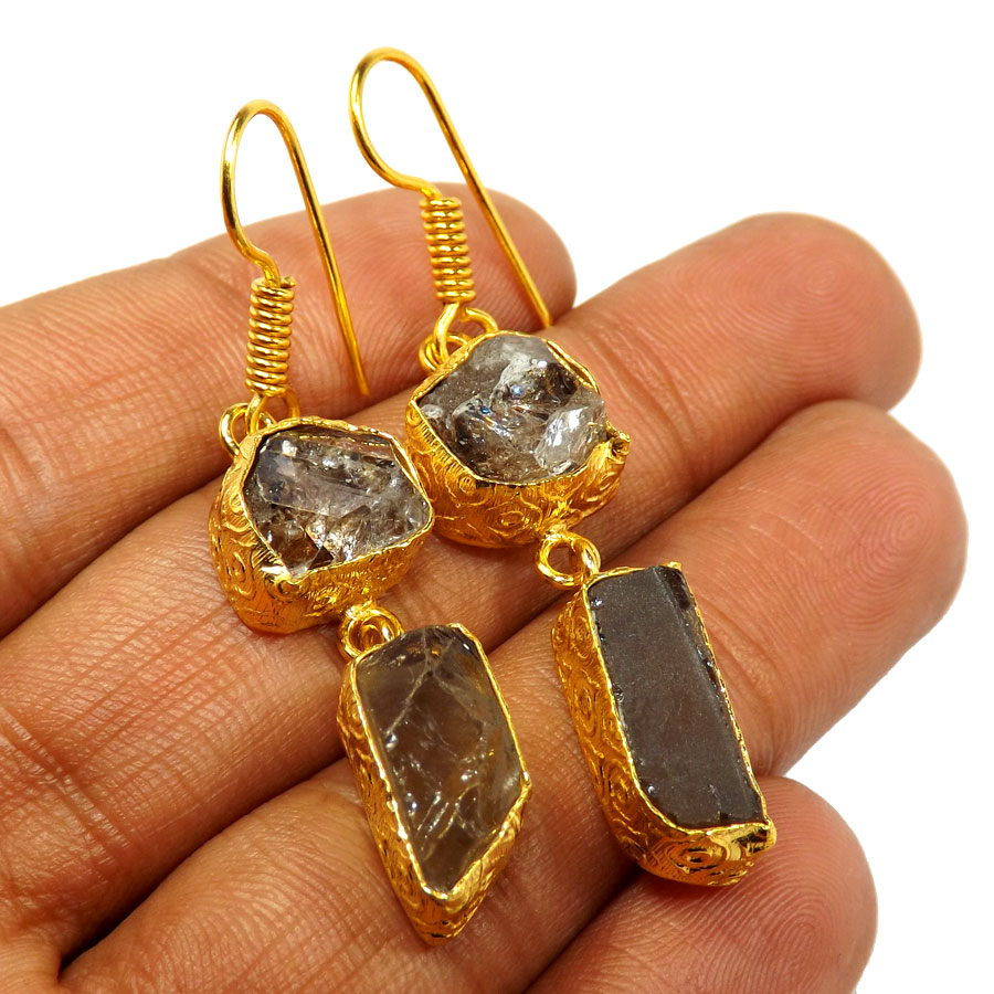 Herkimer Diamond & Smokey Rough D - PBE951-Exclusive Two rough Rough Stone Handmade Wholesale Earrings