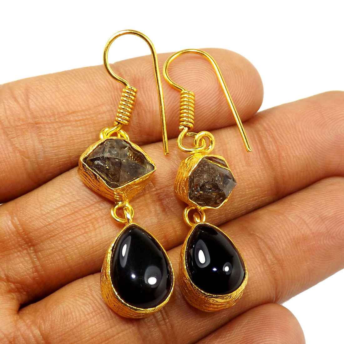 Herkimer Diamond & Black Onyx Cut F - PBE951-Exclusive Two rough Rough Stone Handmade Wholesale Earrings