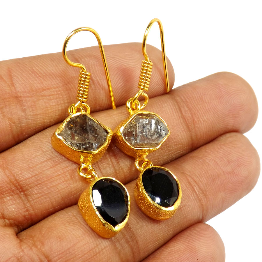 Herkimer Diamond & Black Onyx Cut G - PBE951-Exclusive Two rough Rough Stone Handmade Wholesale Earrings