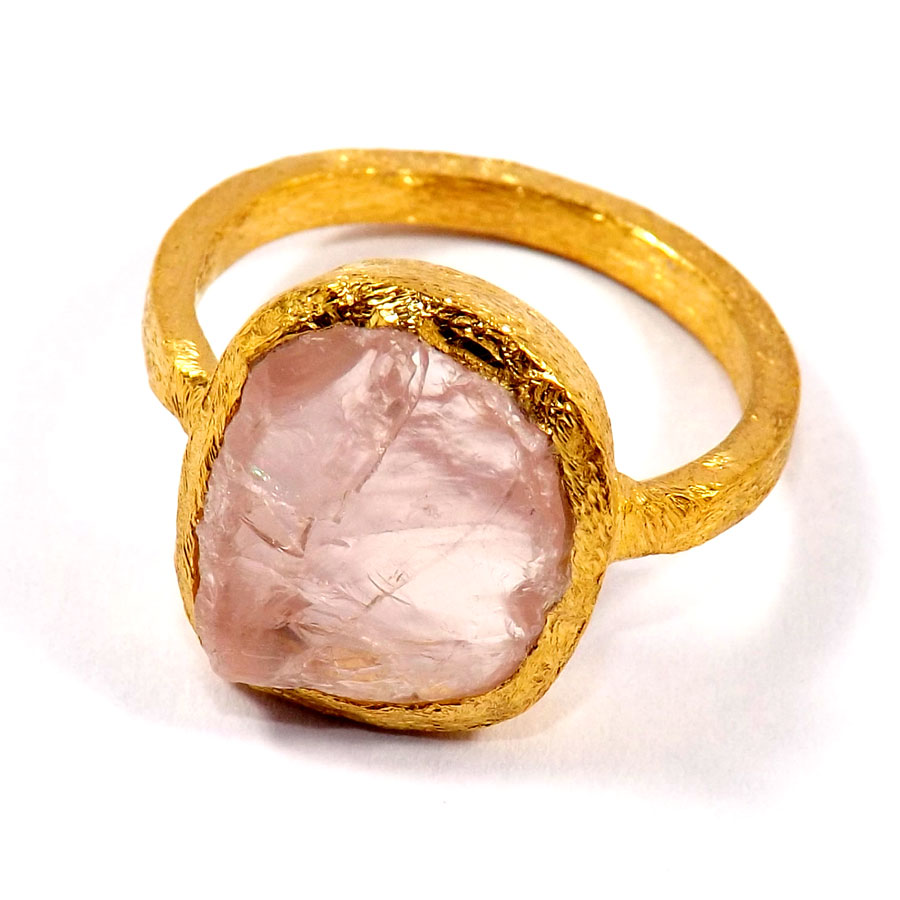 Rose Quartz F - BRR929-Marvellous Brass Alloy Rough Gemstone Wholesale Rings