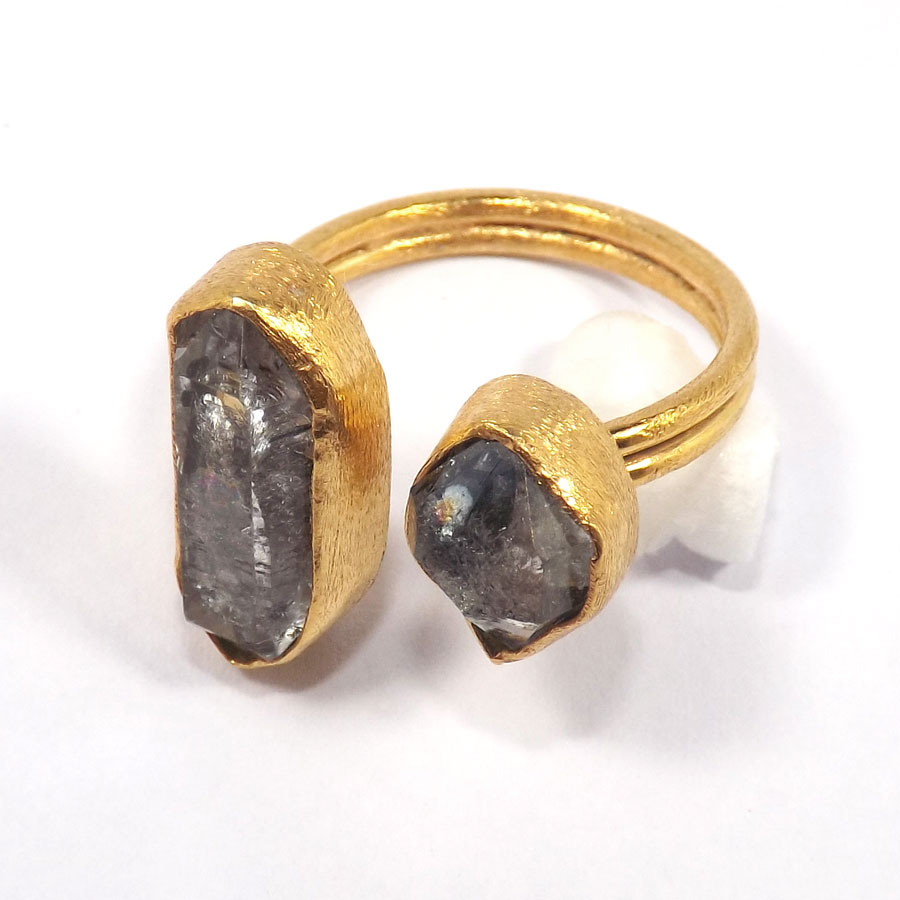Herkimer Diamond A - BRR915-Indian Company Handmade Rough Gemstone Brass Ring