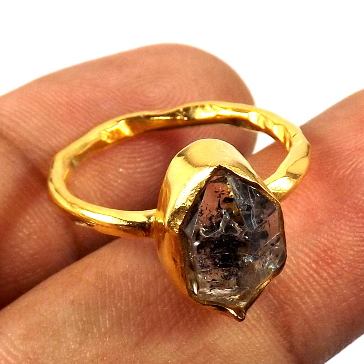Herkimer Diamond C - BRR913-Gorgeous Natural Rough Stone Made In Brass Wholesale Ring