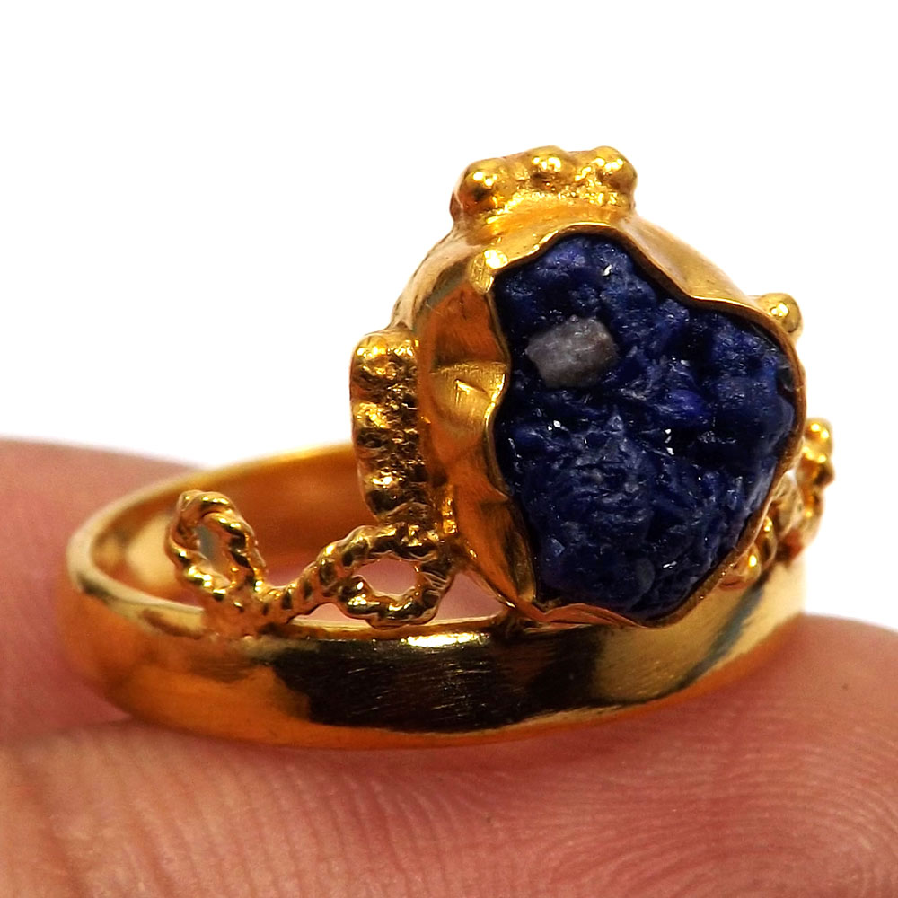 Azurite Rough A - BDR998-Natural Rough Gemstone Gold Plated Brass Princess Crown Ring