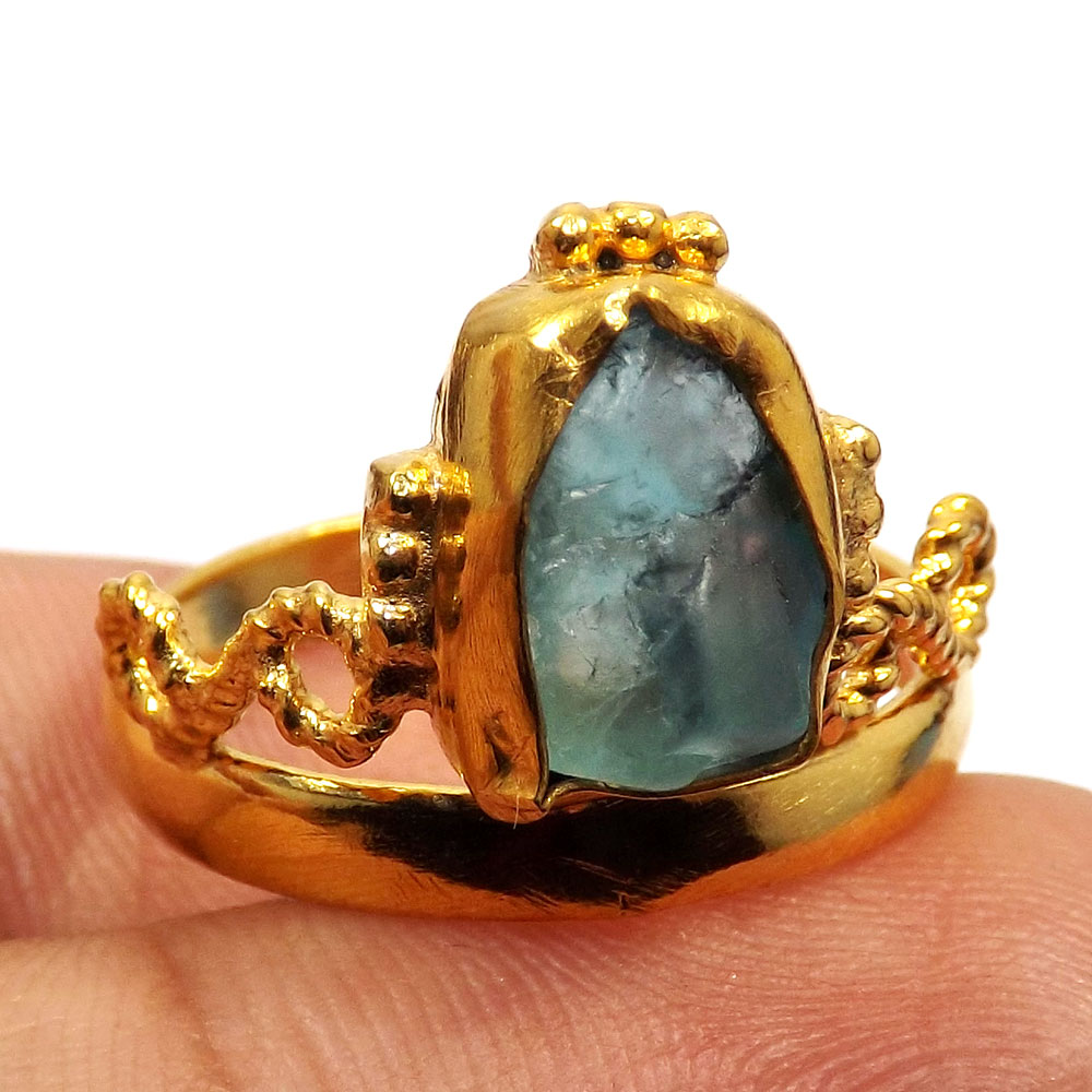 Fluorite Rough O - BDR998-Natural Rough Gemstone Gold Plated Brass Princess Crown Ring