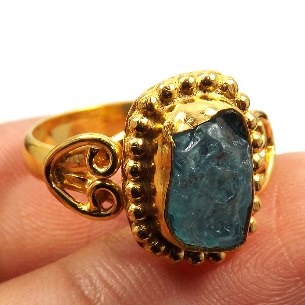 Fluorite Rough A - BDR996-Party Look Rough Gemstone Brass Gold Plated Designer Wholesale Ring