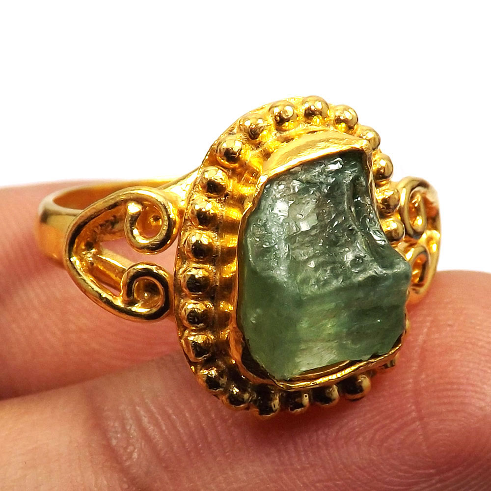 Peridot Rough D - BDR996-Party Look Rough Gemstone Brass Gold Plated Designer Wholesale Ring